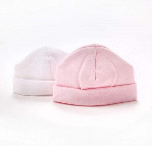 Twin Pack cotton pull on Hat pink & white