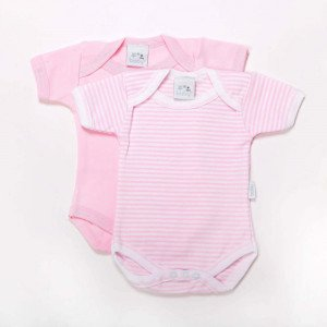 Pair of pink  Cotton bodysuits for New Born