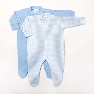 Pair Blue Cotton Sleepsuits for New Born