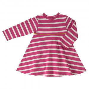 Organic Cotton Pink Striped Dress Age: 3-4 Years