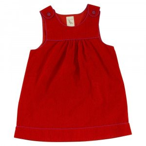 Organic Cotton Red pinafore dress, Age 2-3 Years