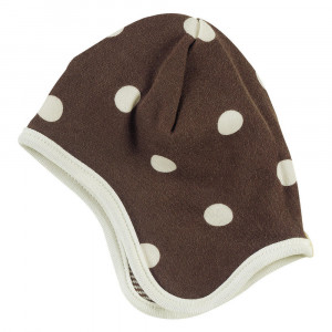 Organic  Cotton Reversible Bonnet in Brown with White Spots Age 0-6 Months