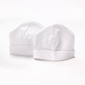 Twin pack Cotton Pull on Hat White.