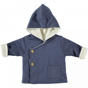 Petite Oh! Blue Cotton Hooded Coat 9-12 Months