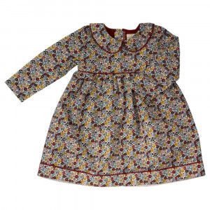 Organic Red Floral Dress by Pigeon Age 3-6 Months