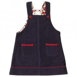 Organic Pinafore Dress, Navy Blue 1-2 Years
