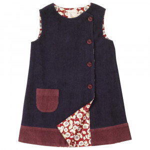 Organic Cotton Sleeveless Dress Reversible, Navy/Red floral 1-2 Years