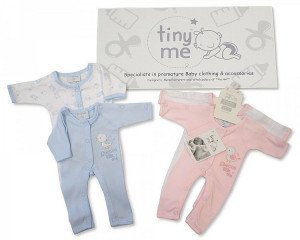 Premature Baby, Pack 2 Cotton Sleepsuits in Blue, Size 3lbs