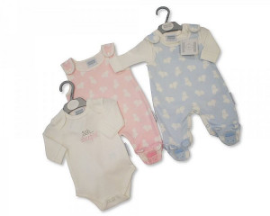 Blue Cotton 2 piece Dungaree Set for Tiny Baby
