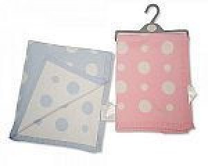 Cotton Pram Blanket Pink with White Spots