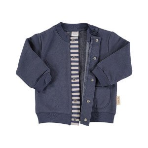 Baby Navy Blue Flannel Jacket in 100% Cotton Flannel, Age 6-9 Months