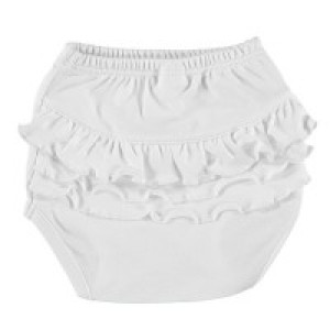 Baby Cotton Nappy Cover with Ruffles in White Age: 0-3 Months