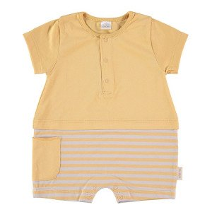 Short Sleeved Romper in yellow & Beige, 3-6 Months, 100% Cotton