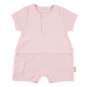 Short Sleeved Romper in Pink & White 3-6 Months, 100% Cotton