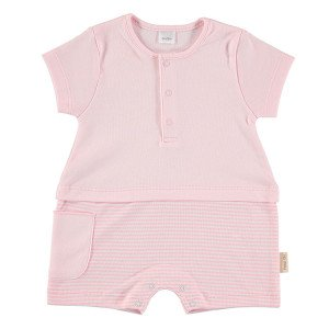 Short Sleeved Romper in Pink & White, 6-9 Months, 100% Cotton