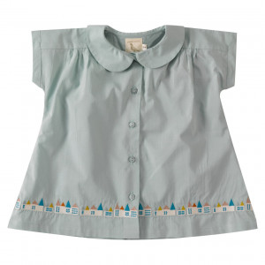 Pigeon Organic Cotton Blue Short Sleeve Blouse, 3-4 Years
