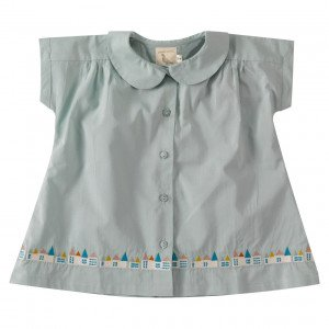 Pigeon Organic Cotton Blue Short Sleeved Blouse, 2-3 Years
