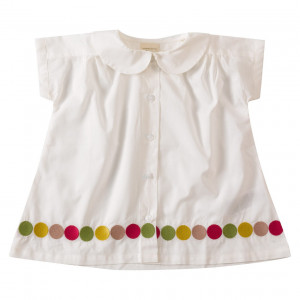 Pigeon Organic Cotton White Short Sleeve Blouse, 2-3 Years