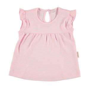 Baby Girl T-shirt, Pink and White Stripe 100% Cotton, 9-12 Months