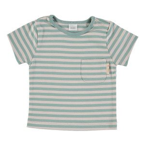 Green & Beige Short Sleeve striped T-Shirt 100% Cotton, 9-12 Months