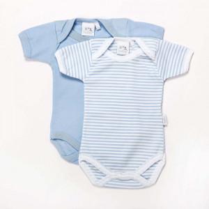 Pair of Blue Cotton bodysuits New Born
