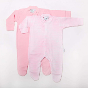 Pink Cotton Pair of Sleepsuits  Age: New Born