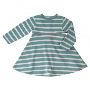 Organic Cotton Turquise Stripe Dress Age 3-4 Years