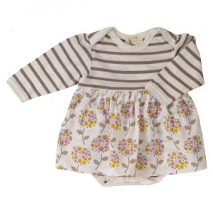 Organic Cotton baby body with integrated skirt 0-6 Months