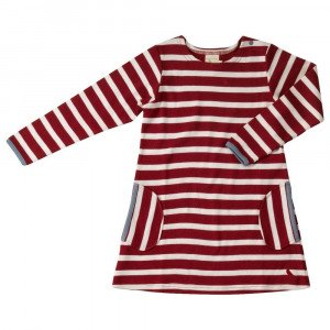 Organic Cotton Ruby Red Stripe Dress 4-5 Years