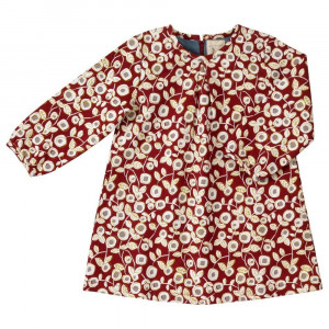 Organic Cotton Tunic Dress, Red Floral 6-12 Months