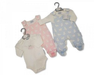 Pink Cotton 2 piece Dungaree set, For Tiny Baby