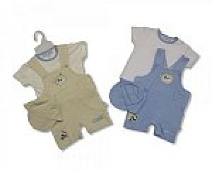 Baby Boy Blue Cotton Dungaree Set Age 0-3 Months