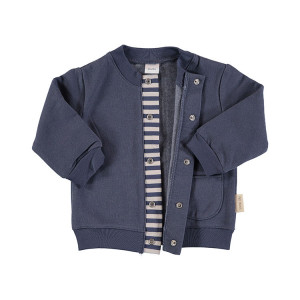 Baby Navy Blue Flannel Jacket in 100% Cotton Flannel, Age 9-12 Months