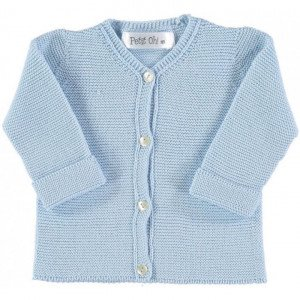 Petite Oh! Light Blue Knitted Cotton Cardigan 0-3 Months