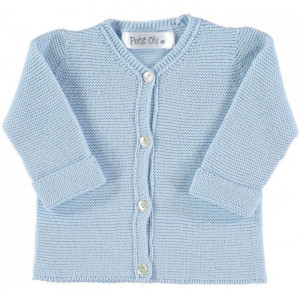 Petite Oh! Light Blue Knitted Cotton Cardigan 3-6 Months