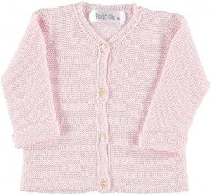 Pink Knitted Cotton Cardigan for 3-6 Months by Petitie Oh!