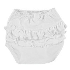 Baby Cotton Nappy Cover with Ruffles in White Age: 3-6 Months