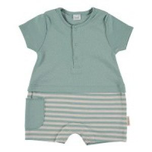 Short Sleeved Romper in Green & Beige, 6-9 Months, 100% Cotton