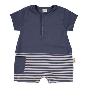 Short Sleeved Romper in Blue & Beige, 3-6 Months, 100% Cotton