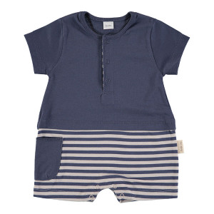 Short Sleeved Romper in Blue & Beige, 6-9 Months, 100% Cotton