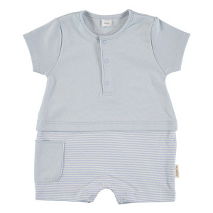 Short Sleeved Romper in Blue & White, 6-9 Months, 100% Cotton