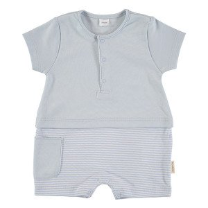 Short Sleeved Romper in Blue & White, 3-6 Months, 100% Cotton