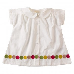 Pigeon Organic Cotton White Short Sleeve Blouse, 4-5 Years