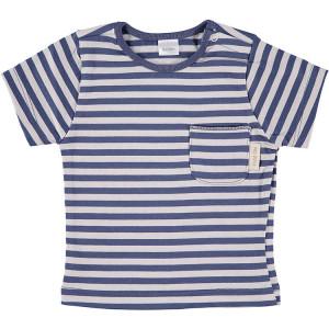 Blue & Beige Short Sleeve striped T-Shirt 100% Cotton, 12-18 Months