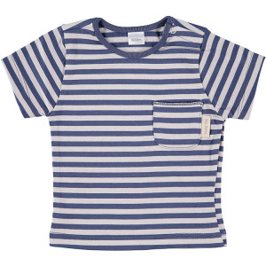 Blue & Beige Short Sleeve striped T-Shirt 100% Cotton, 18-24 Months