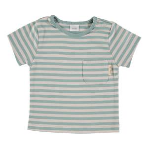 Green & Beige Short Sleeve striped T-Shirt 100% Cotton, 18-24 Months