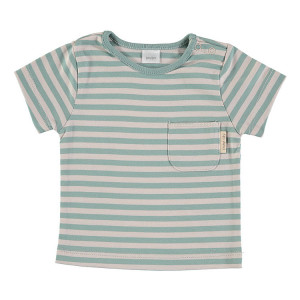 Green & Beige Short Sleeve striped T-Shirt 100% Cotton, 6-9 Months