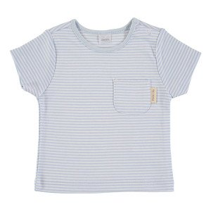 Blue & White Short Sleeve striped T-Shirt 100% Cotton, 6-9 Months