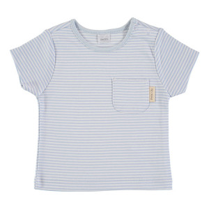 Blue & White Short Sleeve striped T-Shirt 100% Cotton, 9-12 Months